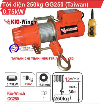 Tời điện xây dựng 250kg KIO Winch Đài Loan GG-250