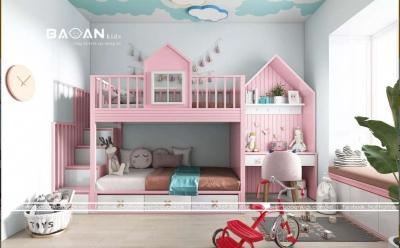 Giường tầng cho bé gái – GT33