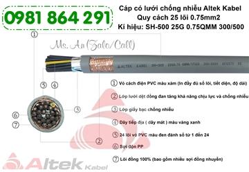Cáp điều khiển chống nhiễu 25 lõi 25x0.5, 25x0.75, 25x1.0,25x1.5mm2