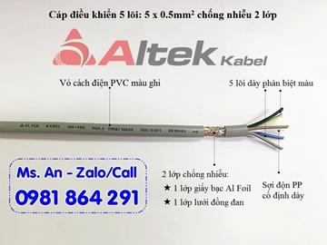 Cáp điều khiển 5 lõi 5x0.5, dây tín hiệu 5 lõi 5x0.5 chống nhiễu Altek Kabel